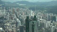 Modern Shenzhen skyline, aerial view, commercial property, urban China, Asia Stock Footage