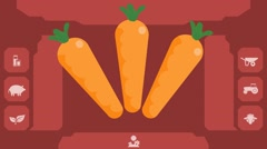 Carrots  - Vector Graphics - Food Animation - menu Stock Footage