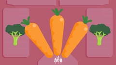 Carrots  - Vector Graphics - Food Animation - pink Stock Footage