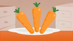 Carrots  - Vector Graphics - Food Animation - plate Stock Footage