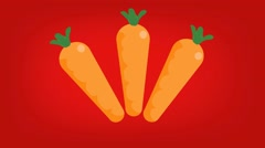 Carrots  - Vector Graphics - Food Animation - red Stock Footage