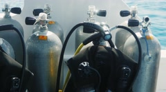 Cylinders with compressed air for diving Stock Footage