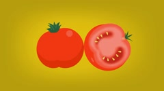 Tomatoes - Vector Graphics - Food Animation - yellow - stock footage