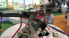 A Chinese made drone for agricultural purposes at a trade show in Shenzhen Stock Footage