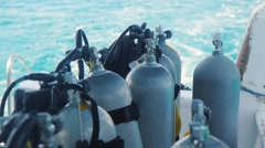Cylinders with compressed air for diving - stock footage