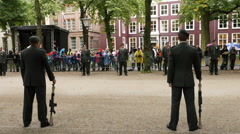 Soldiers Stand at Attention waiting for the King & Queen -  The Hague Stock Footage