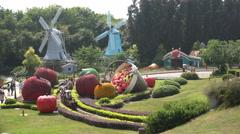 China tourism, miniature windmills, Netherlands, theme park, Europe, travel Stock Footage