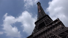 Chinese replica of Eiffel tower in Window of the World theme park Stock Footage