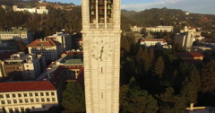 Pull Out from the Clock on the Cal campus Campanile Stock Footage