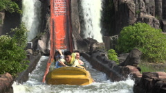 Water slide in popular amusement theme park in Shenzhen, China Stock Footage