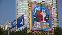 Christmas in China, Santa Claus figure, advertising billboard for festivities - stock footage