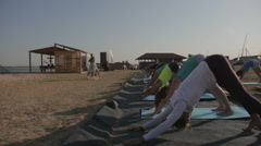 "Practicing Yoga People Perform Pose ""dog Muzzle Down"" at the Seaside Stock Footage"