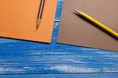 Top View of Creative Writing Concept With Pencils, Colorful paper on Wooden Stock Photos