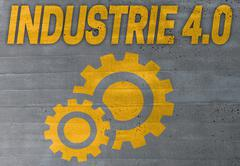 industry 4.0 in german industire 4.0 icon on cement concept background - stock photo