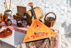 Stock Photo of Balalaika and other products of Russian folk art