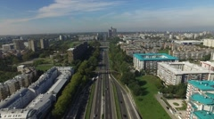 Aerial view of highway going throught Belgrade Stock Footage