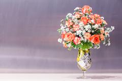 Rose and carnation flower bouquet Stock Photos