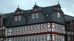 Reconstructed old timber houses, Römerberg city square, Frankfurt am Main Stock Footage