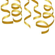 Golden party streamers. Carnival serpentine - stock illustration