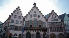 Römer city hall building, medium long shot, Frankfurt am Main, Germany - stock footage