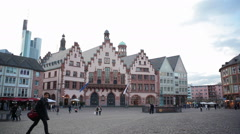 Römerberg historical city square, Römer city hall building, Frankfurt am Main Stock Footage