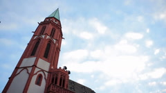 Old st. Nicholas Church, low angle, Frankfurt am Main, Römerberg sqaure Stock Footage