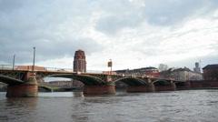 Ignatz-Bubis-Brücke bridge, cloudy sky, Frankfurt Main, Germany Stock Footage