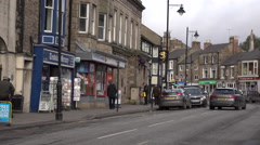 Barnard Castle England city center market traffic 4K Stock Footage