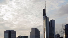 Frankfurt am Main skyscraper skyline, Commerzbank Tower, Germany Stock Footage