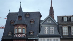 Reconstructed old fantasy houses, Römerberg city square, Frankfurt am Main Stock Footage