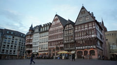Traditional old German architecture, Römerberg sqaure, Frankfurt am Main Stock Footage