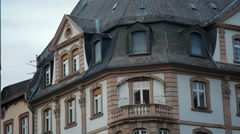Old German architecture balcony, Frankfurt am Main, Germany Stock Footage