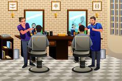 People Having Haircut Stock Illustration