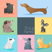Set of dog family Stock Illustration