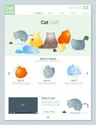 Animal website template  banner and infographic with Cat story - stock illustration