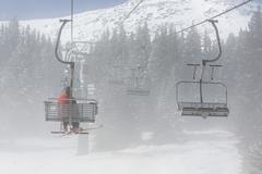 Ski lift in fog Stock Photos