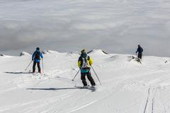 Freestyle skiing in the mountain clouds Stock Photos