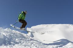 Freestyle skiing jumping - stock photo