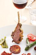 closeup of grilled lamb chops - stock photo