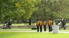 Soldiers Stand at Attention in front of Cannons  - The Hague Netherlands Stock Footage