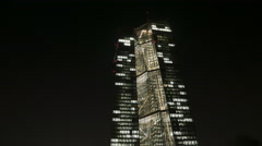 Office building at night Stock Footage