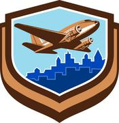 Vintage Airplane Take Off Cityscape Shield Retro Stock Illustration