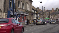 Barnard Castle England city center market traffic fast 4K Stock Footage