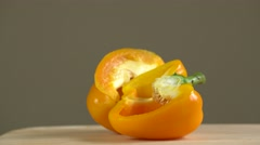 Detail of yellow pepper. Stock Footage