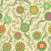 Seamless pattern with flowers over beige - stock illustration