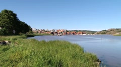 View to the bay and small town of Fjallbacka, Sweden. Stock Footage