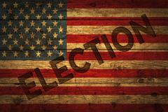 American flag with election text. - stock photo