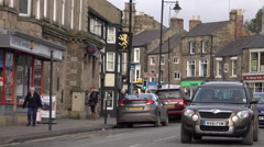 Barnard Castle England town center busy market traffic 4K Stock Footage