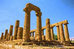 Stock Illustration of Ancient Greek Temple of Juno God, Agrigento, Sicily, Italy