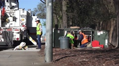 Public Utilities Electrical Power, support crew Stock Footage